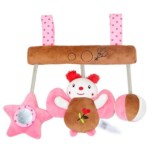 NaiCasy Activity Spiral Plüschtiere Spielzeug Baby Krippe Spielzeug Wrap Around Krippe Schiene Spielzeug Ring Hängende Glocke Spielzeug für Kinder Schmetterling