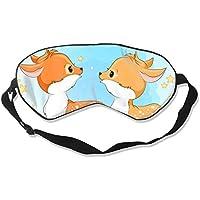 Preisvergleich für Natural Silk Eyes Mask Sleep Two Sika Deer Blindfold Eyeshade with Adjustable for Travel,Nap,Meditation,Sleeping...