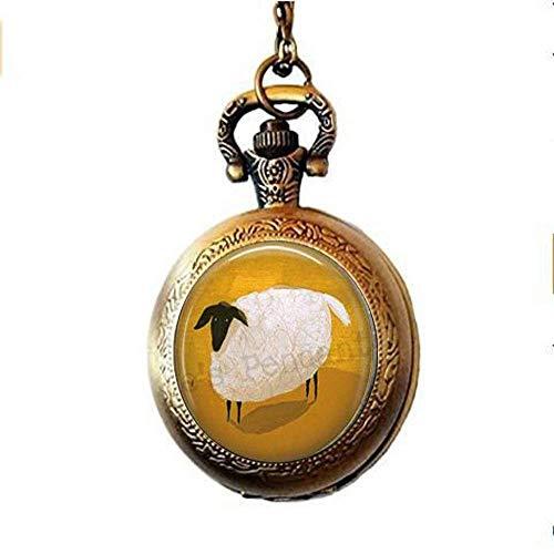 Collar de reloj de bolsillo de oveja, collar de reloj de bolsillo de oveja, joyería de oveja negra con cara negra, oveja negra Baa Baa, regalo para tejer, tejer, lana