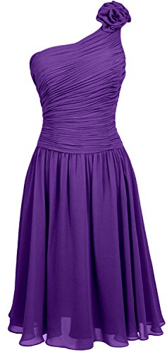 MACloth Women Short Bridesmaid Dress One Shoulder Wedding Cocktail Party Gown purple