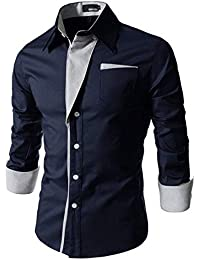 IndoPrimo Men's Cotton Casual Shirt for Men Full Sleeves Black