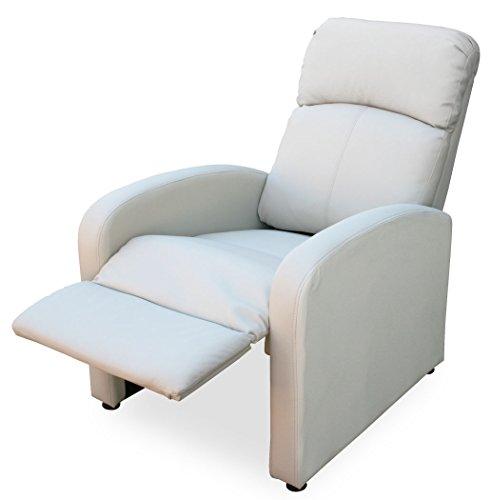 KMH®, Fernsehsessel / Relaxsessel *Patrick* - creme (Kunstlederbezug / verstellbar) (#204632)