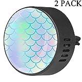 2 pezzi auto aromaterapia diffusore di oli essenziali clip - Brillante scala di pesce modello sirena - frutto della passione floreale
