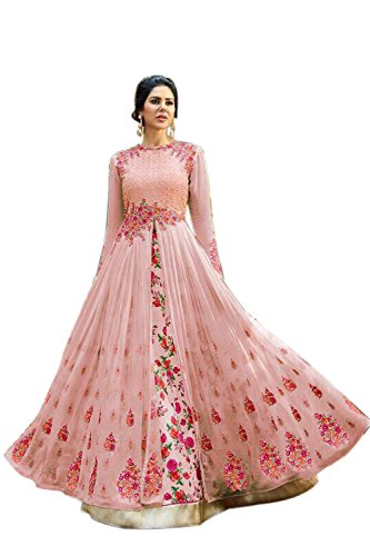 Jaksh Creation Women Georgette Bollywood Designer Semi-Stitched Salwar Suit (NewJKSh-BE11049_Peach_Free Size)