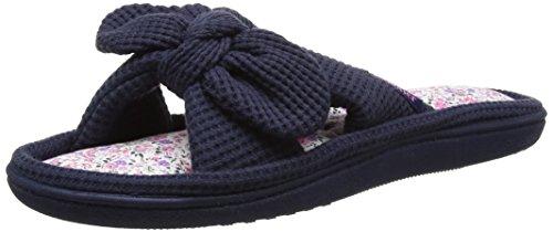 isotoner-damen-waffle-open-toe-slipper-pantoffeln-blau-marineblau-39-eu