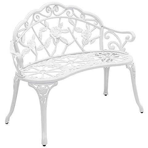 [casa.pro] garden bench - metal - white - romantic design