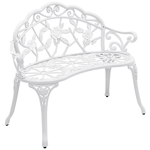 [casa.pro] Gartenbank Weiß Gusseisen - Wetterfester 2-Sitzer rund aus Metall im Antik-Design - Parkbank / Sitzbank / Eisenbank im Landhausstil