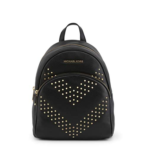 Michael Kors Abbey - Zaino in pelle martellata con borchie a zig zag, Nero (Nero), Medium