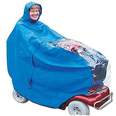Morfywang -Waterproof Mobility Scooter Cape With See Through Panel,Weatherproof Universal Poncho For 3 And 4 Wheel Scooters, Covers Scooter And Rider - Royal Blue