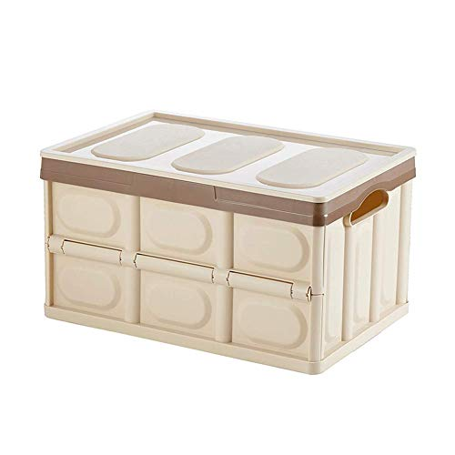 HRYP Space-Saving Folding Plastic Storage Box - Detachable/55Liter Capacity Storage File with Additional Cover/Home/Car/Office/Outdoor/Grocery/Sports/Garage/BlackBeigeGreenBlue-Beiye (Garage Storage-boxen)