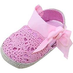 Tefamote Sandalias Zapatos de Suela Blanda Cuna Para Princesa Primeros Caminantes Bebé Recién Nacido Niño niña (11, Rosa)