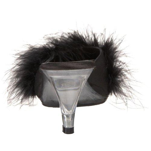 Pleaser , Sandales pour femme Blk Satin-Fur/Clr