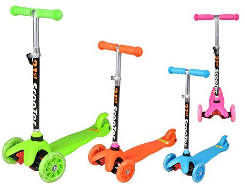 Kinderroller Cityroller Dreirad Roller 3-Rad Tretroller Kinder Farbauswahl #1107, Farbe:Orange