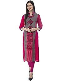 IndiWeaves Pink Rayon 14 Kg Digital Printed Casual/Party Wear Kurta/Kurti For Womens