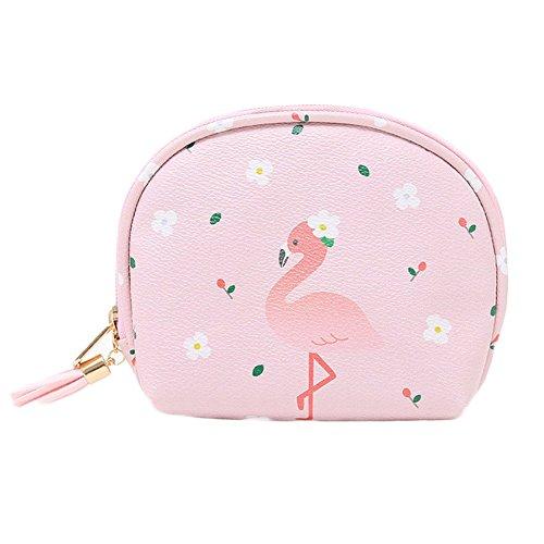Doitsa Petit Sac De Rangement Frais Et Doux Gland Sac à Main Portable Mini Sac Cosmétique Sacs de Monnaie Sac Maquillage (Flamant rose)