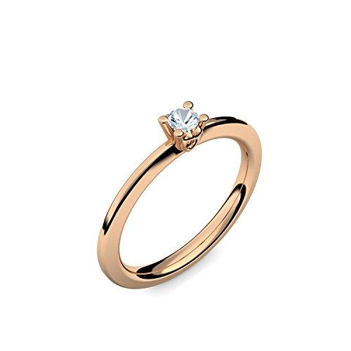 Rosegold Ring Aquamarin 750 + inkl. Luxusetui + PORTOFREI Aquamarin Ring Rosegold Aquamarinring Rosegold (Rosegold 750) - Hidden Heart Amoonic Schmuck Gr. 48 (15.3) AM297 RS750AQFA48
