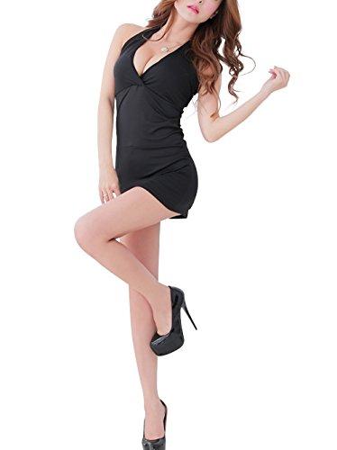 Paplan Damen Halter tiefer V-Ausschnitt-Paket-Hüfte Nachtclub Kleidung Schlank Satin Abendkleid Rassig Unterwäsche Schwarz