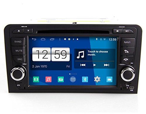 Roverone Système Android 7 Pouces double DIN EN Voiture Dash GPS Navi Navigation pour Audi A3 S3 RS3 2002-2011 avec autoradio stéréo DVD Bluetooth SD USB écran tactile