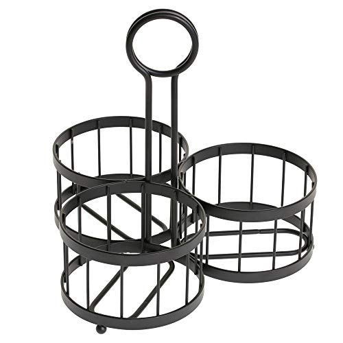 Tablecraft Meranda Collection Besteck-Halter, inkl. 3x Glas Mason Set Sturzglas, Pulver, Rack, 650ml (22Oz), schwarz (Gläser, Mason Besteck)