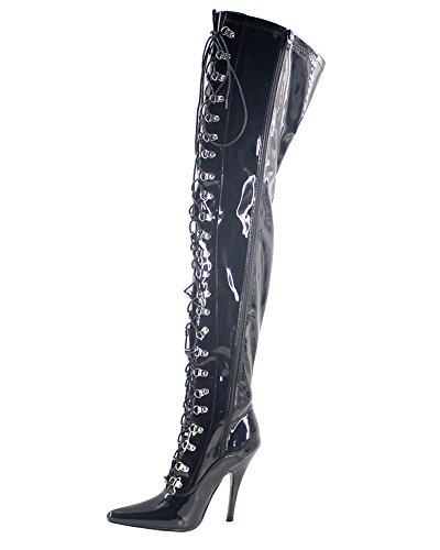 WONDERHEEL Damen Pointed Toe Over-Knee Stiefel Schwarz 44 EU