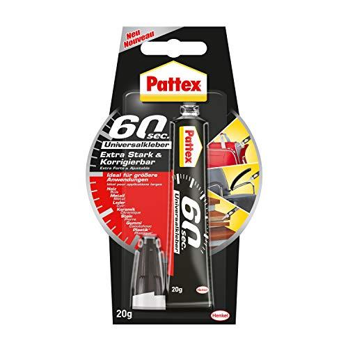Pattex 60sec. Universalkleber, Alleskleber für Haushaltsreparaturen, schnell klebend in nur 60 Sekunden, starker Kleber für vielfältige Materialien, 1x20g Tube