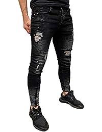 STRIR Hombre Slim Biker Cremallera Denim Jeans Skinny Frayed Pants Distressed Rip Trousers Hole Zippered Tachuelas PantalóN Bolsillos Laterales Hombres Pantalone Transpirable