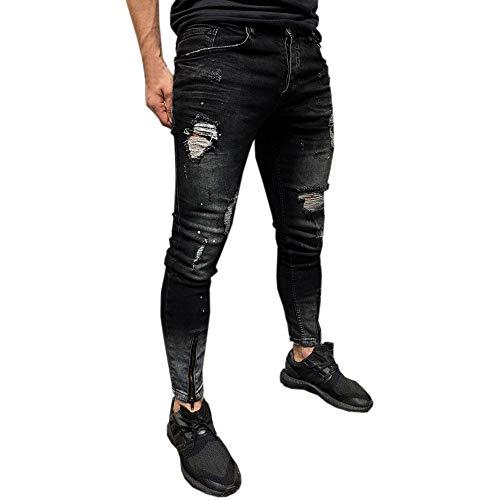 Geili Jeans Hose Herren Lang Destroyed Löchern Jeanshosen Skim Fit Strech Skinny Jeans Männer Vintage Wasserwäsche Used Look Denim Pants Freizeithose Arbeitshose S-3XL -