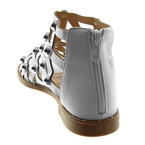 Angkorly Scarpe Moda Sandali Gladiatore Alti Donna Perforato Borchiati Perla Tacco a Blocco 2 cm Bianco