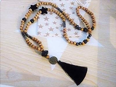 Sautoir/collier long perles de bois naturel, noir en cristal, étoiles, pompon esprit bohème chic mala