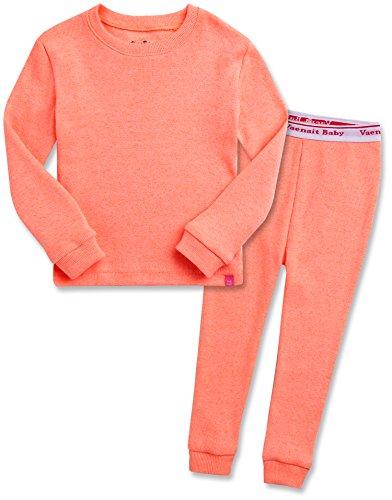 Rib-set (Vaenait Baby Kinder Maedchen Schlafanzug Pyjama 2 Stuck Set Rib Neon Orange XL)