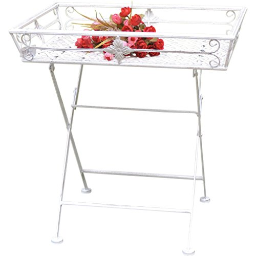Plateau Table Table d'appoint Table de jardin pliable avec pieds Shabby Chic Métal Blanc