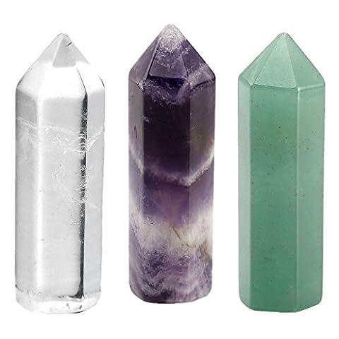 JSDDE Natural Healing Crystal Wands Chakra Hexagonal Quartz Sticks Pointed