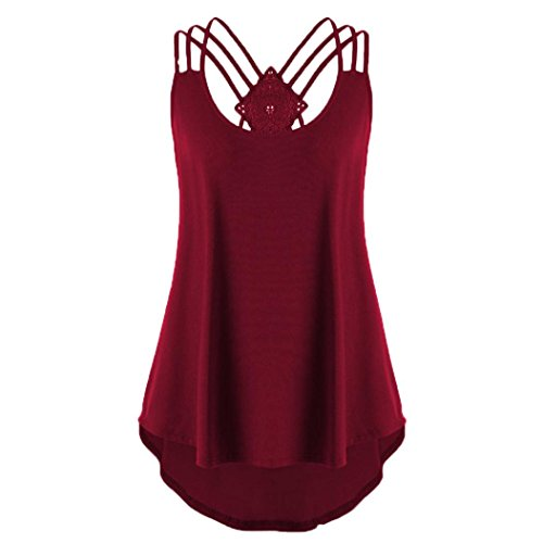 OverDose Damen Bandagen ärmellose Weste High Low Tank Top Bluse T Shirt Hinweise Strappy Tops(Wine,S)