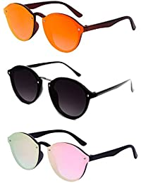 7750fb0bfda TheWhoop Combo UV Protected Mirror Round Sunglasses Goggles For Men