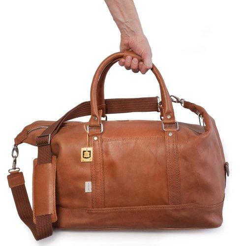 Kleine Reisetasche / Weekender Größe S aus Nappa-Leder, für Damen und Herren, Cognac-Braun, Jahn-Tasche 698