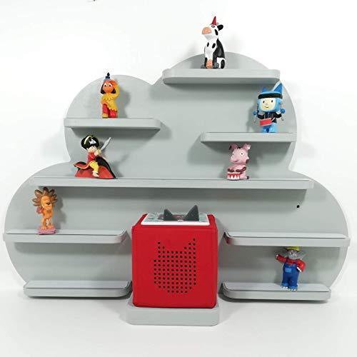 Tonie Board, Wolke in grau mit grauen Regalen, ideale Aufbewahrung für Tonie Box und Tonie Figuren, Kinderzimmer Regal, Deko Board, Musikboxaufbewahrung, Hängeregal -