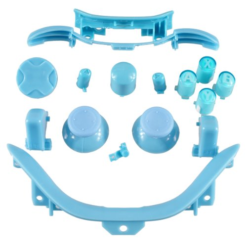 Xbox 360 Controller Mod Kit hellblau - ABXY Buttons, Thumbsticks, D-Pad, Guide Button, Start/Back Buttons, Bumper RB/LB, Middlebar inkl. Sync, Trigger RT/LT, Bottom Trim
