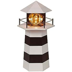 HARTIG + HELLING - Lampe Decorative - Phare lumineux - Noir et Blanc - Hauteur 30 cm
