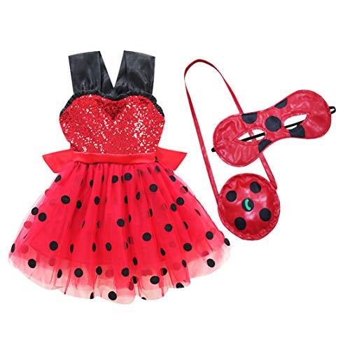 Wetry - Kinder Prinzessin Kleid Ladybug Mädchen Marienkäfer Kostüm Party Cosplay 3er Set - Kleider, Augenmaske, Tasche (Das Marienkäfer Kostüm Party)