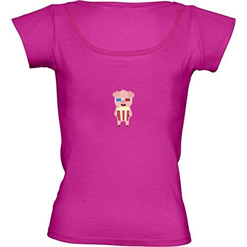 rundhals-rosa-fuchsie-damen-t-shirt-grosse-m-kino-schwein-mit-by-ilovecotton