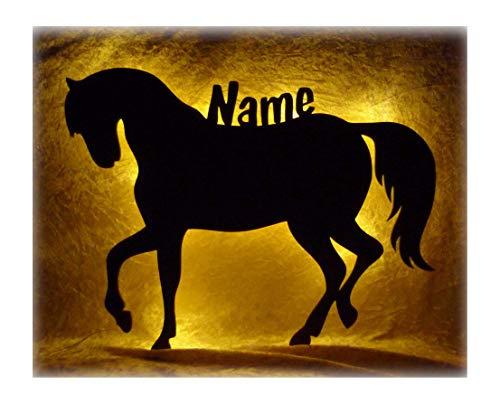 Led Nacht-Licht Pferd-e Mit Name personalisiert Ein Elektronik Holz Wand-Tattoo Geschenk für Mädchen Baby Erwachsene Freundin Frauen im Kinder-Zimmer ()