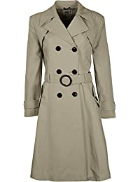Womens Double Breasted Long Coat Fit And Flare Ladies Coat With Inside Lining