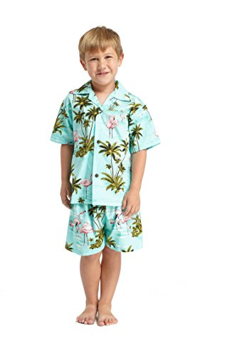 Made in Hawaii Luau Aloha Shirt und Kurz Junge Cabana Set Rosa Flamingo Alles in Türkis 2 (Kurz Cabana)