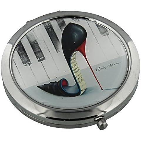Sophia-Specchietto compatto 7 cm placcato argento, motivo: pianoforte