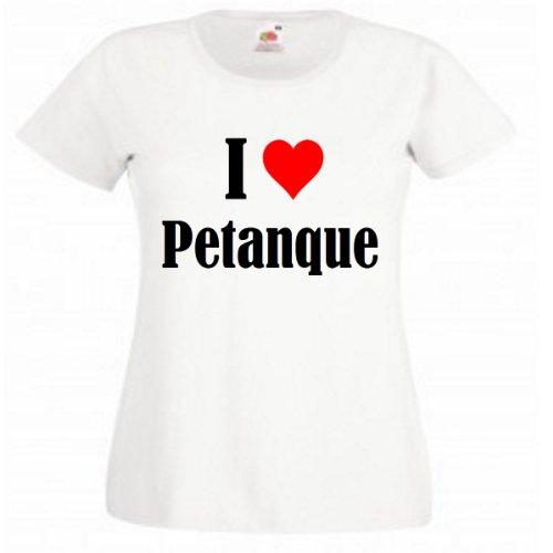 """T-Shirt """"I Love Petanque"""" für Damen Herren und Kinder in Weiß Weiß"""