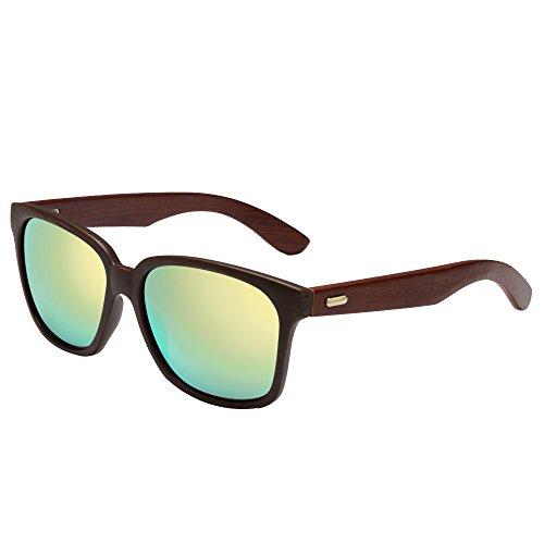 Walnut Wood Wayfarer Sunglasses For Men & Women with Polarized Lenses(Gold film)