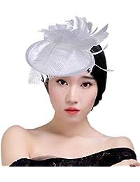 KAXIDY Donne Cappelli Eleganti Copricapo Cappelli Cerimonia Piuma Fiore  Partito Matrimonio Cappello Berrett 6b446a7934b5
