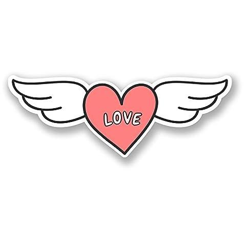 2x 15cm Love Coeur avec ailes en vinyle Sticker filles Casque de vélo pour voiture rose # 5727 - 15cm Wide x 5.5cm Tall