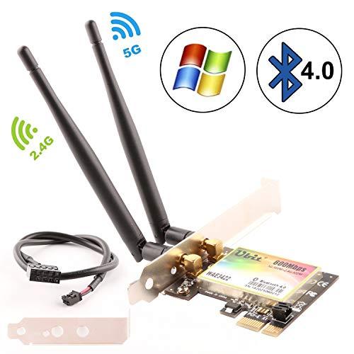Ubit 300 Mbps Adaptador PCIe Express de Doble Banda Tarjeta de Red Adaptador WiFi WLAN con Bluetooth 4.0 para Adaptador de PC de Escritorio (WAE3422)