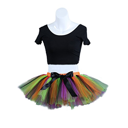 Honeystore Damen's Kurz Retro Petticoat Rock Ballett Blase 50er Tutu Unterrock Tütü Abschlussball Tanzkleid Party Minirock Tüllrock One Size Fluoreszenzlicht Orange (Billig Diy Halloween Kostüme Für Frauen)